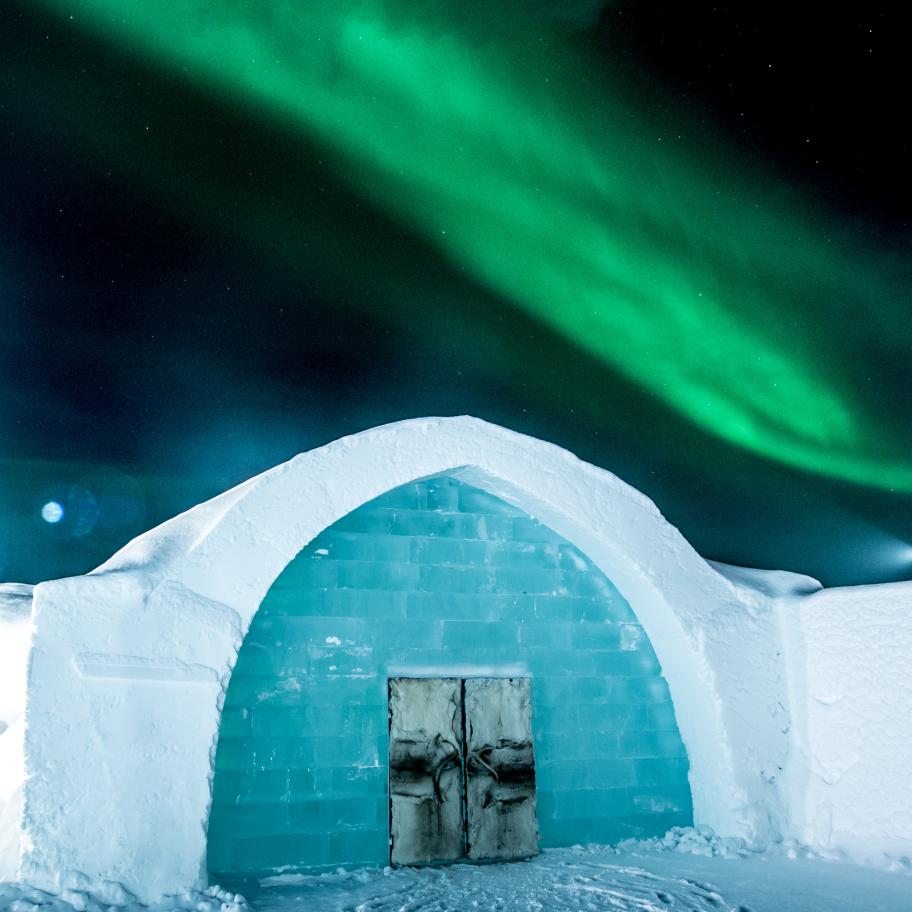 Aurora Borealis, norrsken vid Ice Hotel